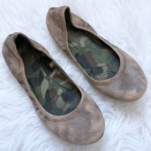 Lucky Brand Distressed Emmie Leather Ballet Flats